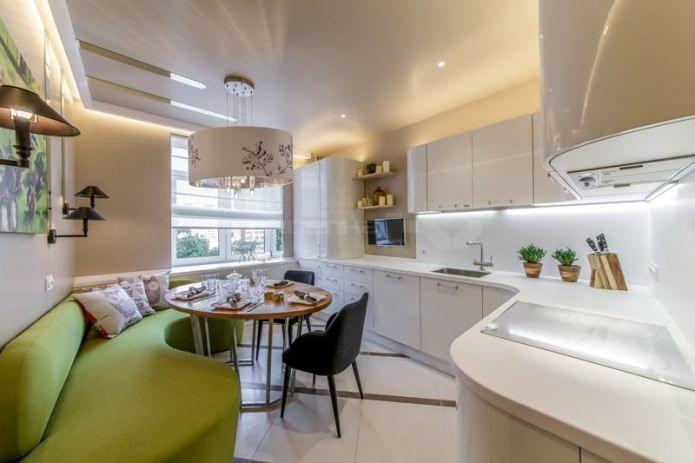 Дизайн интерьера угловой кухни с диваном 13 кв. м .