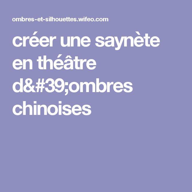 créer une saynète en théâtre d'ombres chinoises