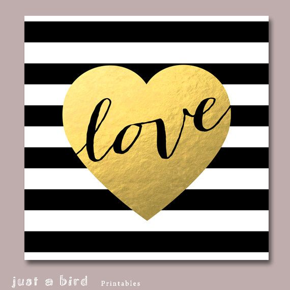 Gold foil art printable on black and white stripes.    Show your feelings!    This is an INSTANT DOWNLOAD digital art. ***NO physical item