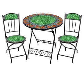 Three-piece outdoor bistro dining set with hand-arranged ceramic tiles. Includes one folding table and two folding chairs.   Product: Table and 2 chairs  Construction Material: Powder-coated metal and ceramic Color: Viva Mexicana  Features:  Table and chairs fold for easy transport and storageRust free   Dimensions: Table: 28.5 H x 27.5 Diameter Chairs: 33.25 H x 14.25 W each  Note: No two pieces are identical