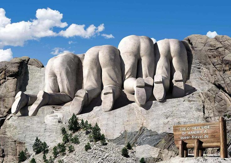 Brian TUT#3 This poster was used for advertisement from queer-travel.de which is German travel company. Everyone can easily guess from this image that this is parody of Mount Rushmore of four U.S. presidents. Visual metaphor also often used in parodies like this one.