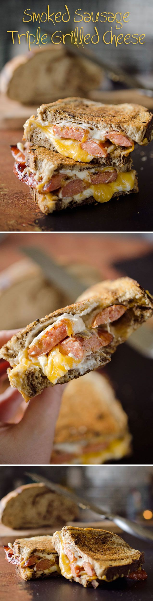 Smoked Sausage Triple Grilled Cheese - An amazing sandwich with juicy sausage and creamy gouda, cheddar and cream cheese layered between two pieces of marble rye bread.