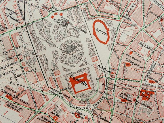 1894 Antique city map of MILAN ITALY. 119 by AntiquePrintsOnly, $15.95
