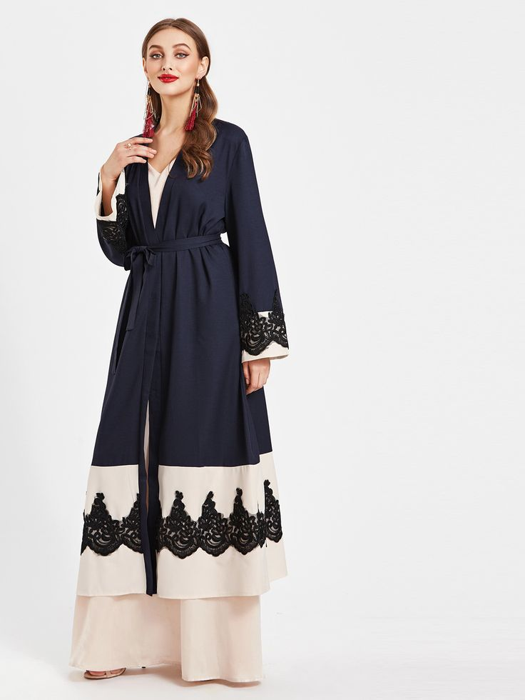 Shop Color Block Lace Appliques Embellished Belted Longline Abaya online. SheIn offers Color Block Lace Appliques Embellished Belted Longline Abaya & more to fit your fashionable needs.