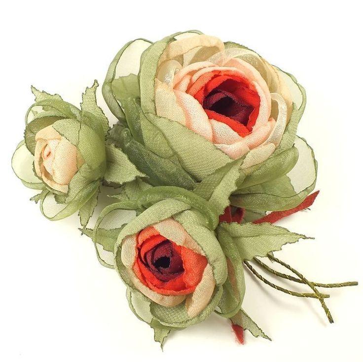 Купить Тайна Лесной Феи. Букет. Брошь с цветами из ткани - светло-бежевый, цветы