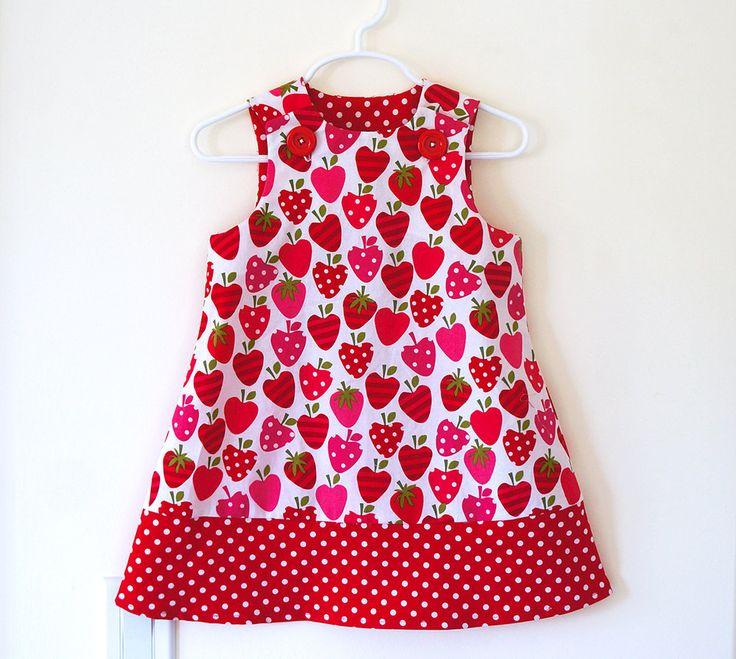 Strawberry Patch Girls Jumper Dress, Girls Dress, Strawberry Print, Polka Dot Trim, Toddler Dress. $38.00, via Etsy. #pinhonest