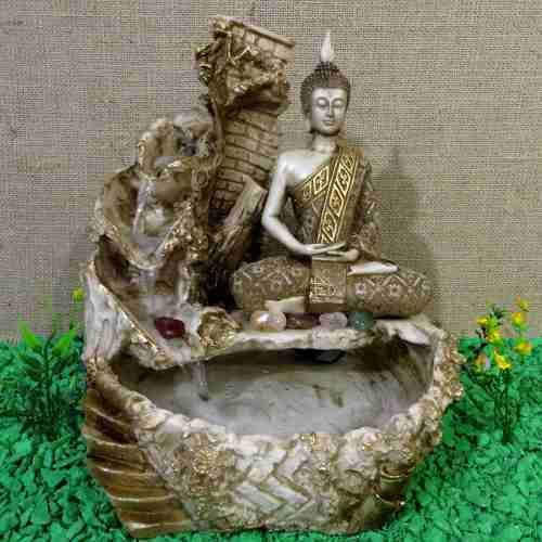 Fonte Água Buda Hindu Yoga 3 Quedas Cascata Decoração Pedras - R$ 156,90
