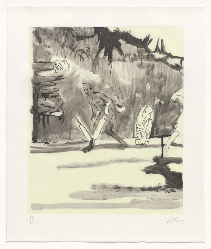 "Peter Doig. Untitled, Small Cricket Player. 2013. Etching with aquatint, and screenprint. plate: 17 1/2 x 14 1/2"" (44.5 x 36.8 cm); sheet: 21 15/16 x 18 3/8"" (55.7 x 46.7 cm). Committee on Prints and Illustrated Books Fund. 49.2014.8. © 2016 Peter Doig. Untitled. Drawings and Prints."