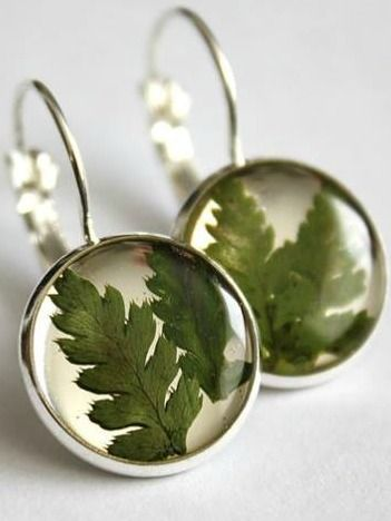 Fern Earrings | This jewellery features hand picked and pressed plants grown in a greenhouse by the designer herself! Some pieces also feature foraged natural items such as ferns, lichen and moss, leaves, and seashells gathered from Eastern Quebec and the Bas St-Laurent region. #torontofashion #CanadianDesigners #canadianfashion #canadianfashionblogger #madeincanada #canadiandesigner #canadianbrands #jewellery #torontojewelry #canadian #earrings  #madeinquebec
