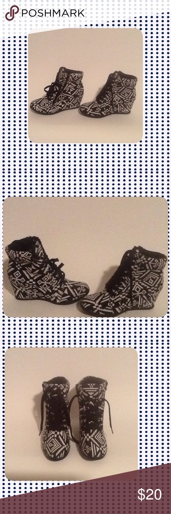 Black Aztec Wedge Shoes These shoes are New and have Never been Worn!!! The wedge shoes are similar to wedge sneakers so they are very comfortable. To keep Shipping low I will ship Without the Box!!! Reasonable Offers Only!!! Top Moda Shoes Wedges