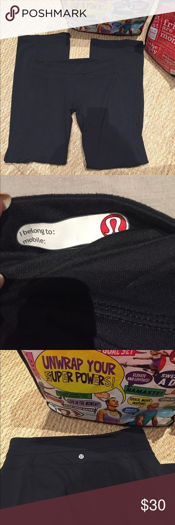 """Lululemon Pant solid Black size 10 41""""length Lululemon Pant solid Black size 10 41""""length great shopping around town and workout pant these are great all day long💗 love LULULEMON gently worn Great Condition! lululemon athletica Pants Boot Cut & Flare"""