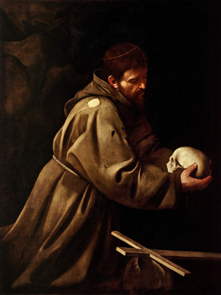 Caravaggio (Italian, 1571-1610) ~ Saint Francis In Prayer ~ ca.1602-1604 ~ oil on canvas ~ Galleria Nazionale d'Arte Antica in Rome ~ The painting is unrecorded and therefore difficult to date, or even to distinguish the original from later copies.