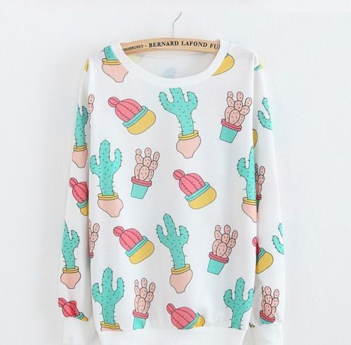 Southwest Cactus Kawaii 80's Style Art. Thin Stretchy Shirt/ Layering Sweater. Colorful Pastels on White Fabric. For more cute fashion for women check out our Geekyloot eBay store!