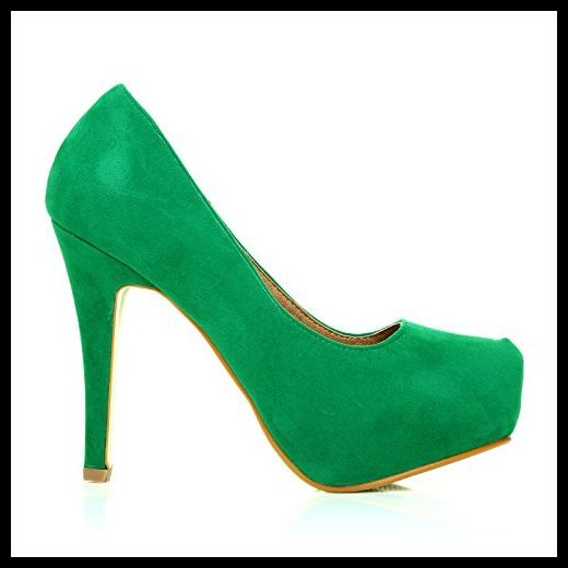 H251 Women's Faux Suede Stiletto High Heel Green Court Shoes Size 8