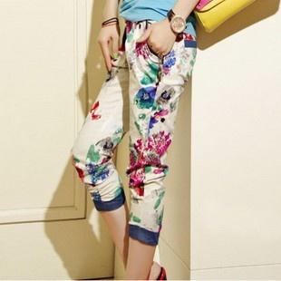 2013年夏天爆款女装 FASHION 休闲修身显瘦七分裤 花色-淘宝网