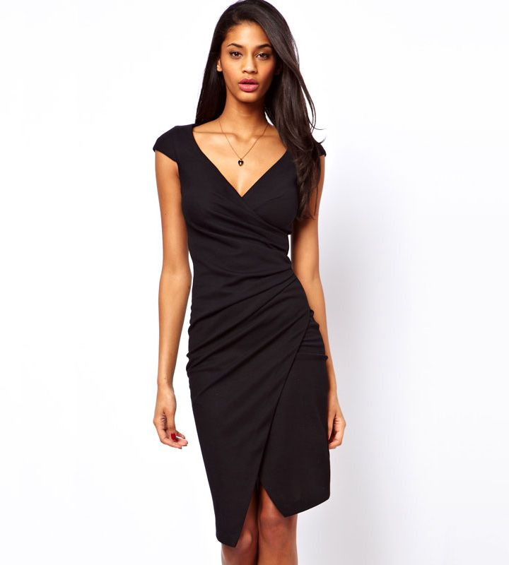 Buy Short Cap Sleeves Asymmetric Hemline Ruched Sheath Wrap Midi Jersey Dress at VILANYAS,Get Coupon Code for Your First Order,Shopping Now.