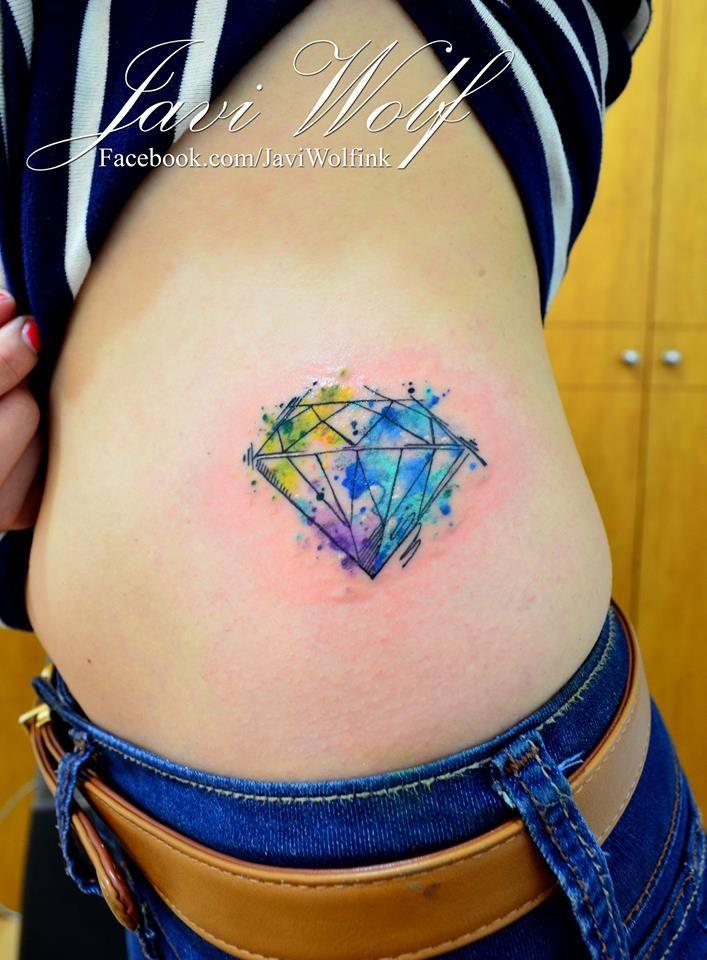 Watercolor Diamond Tattoo.  Tattooed by @javiwolfink  www.facebook.com/javiwolfink