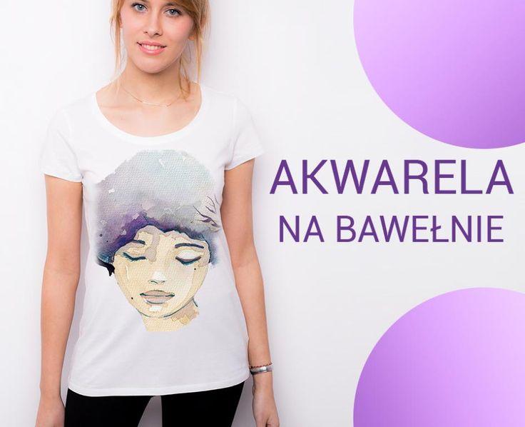 T-shirt bawełniany biały damski z AKWARELĄ dtg L