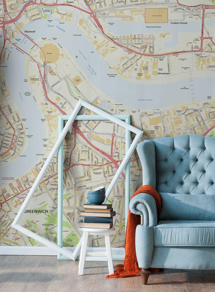 Best Map Wallpaper Murals Images On Pinterest World Maps Map - Us road map wallpaper
