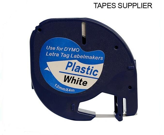 5pcs Free shipping 12mm*4m compatible DYMO LetraTag plastic Tape Label 91201 for DYMO label printer ribbons