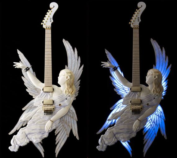 Someone forgot they were making a guitar. ESP Takamizawa Angel Guitar Collection. Only in Japan... :-)  #guitar