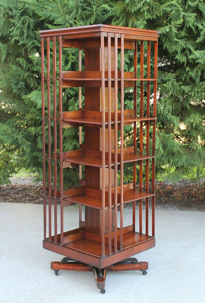 Rare Size Antique Danners Revolving Rotating Lawyers Walnut Bookcase Pat 1876