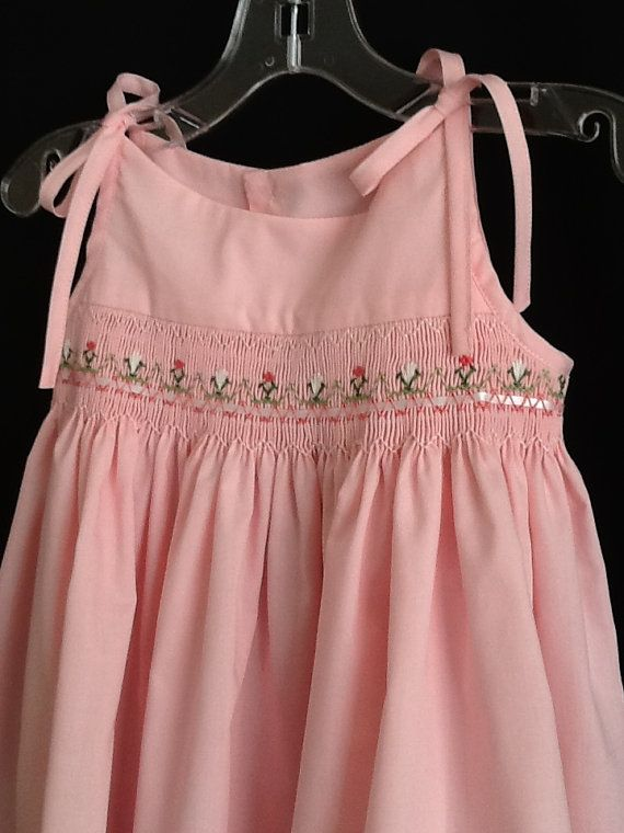 Flowers on Pink Tie Dress Size 18 mo by threadsandpearls on Etsy, $45.00