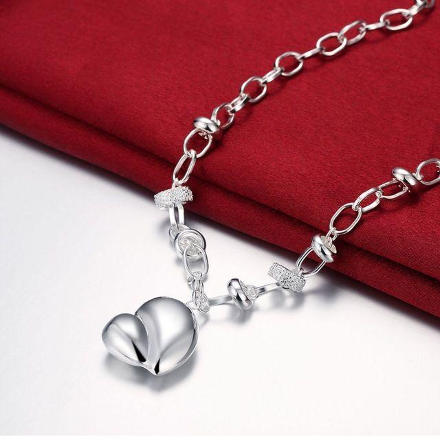 Grandes colgantes Del Corazón Del Melocotón 925 cadenas serpiente de plata esterlina collares colar 18 ''Para El Día de San Valentín de Regalo