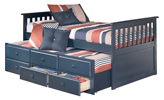 Ashley Furniture Leo Twin Trundle Bed w/ Storage.Love storage AND trundle. But only in blue? ~aftr