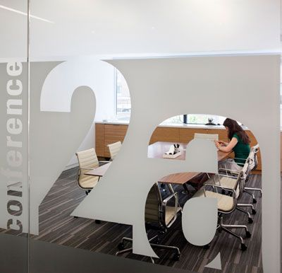 I like the use of opaque, transparent, and translucent glass to give a semblance of privacy while still showing outsiders what's going on in the building. {Society for Environmental Graphic Design RTKL Office}