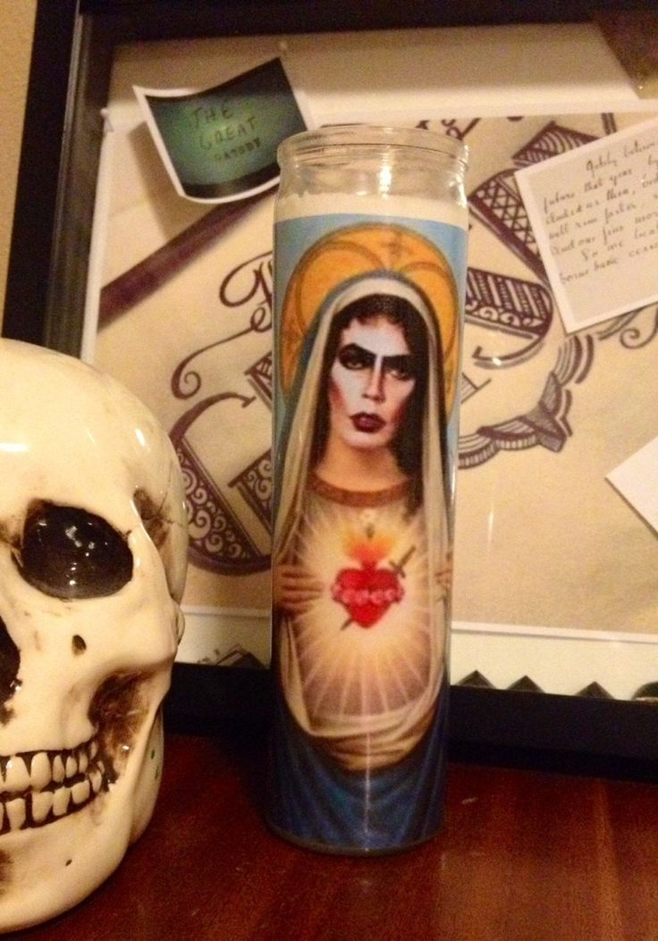 St Tim Curry Frank n Furter Rocky Horror Picture Show Saint Prayer Candle by RustbeltCooperative on Etsy