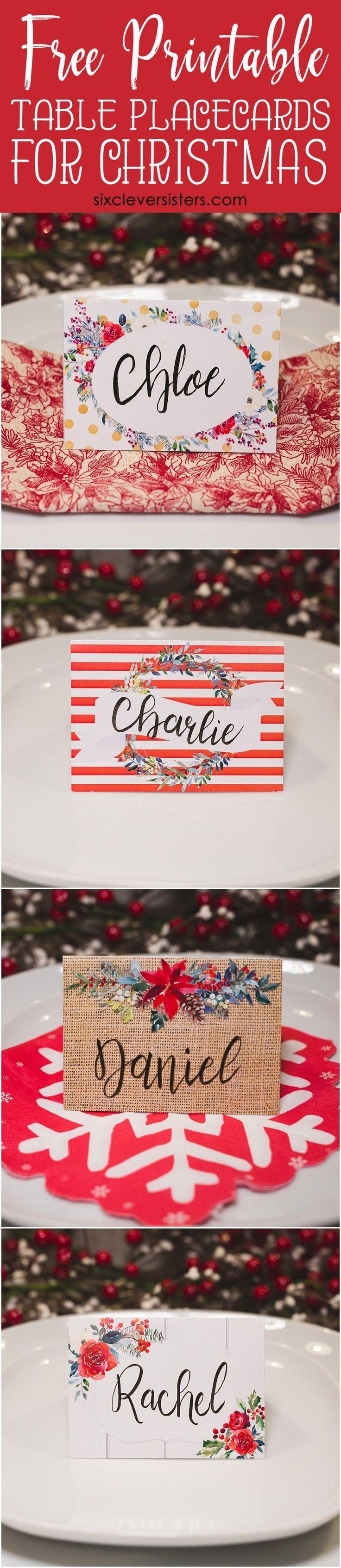 Christmas Table Place Cards Free Printable Six Clever Sisters Christmas Place Cards Diy Christmas Table Christmas Table Settings