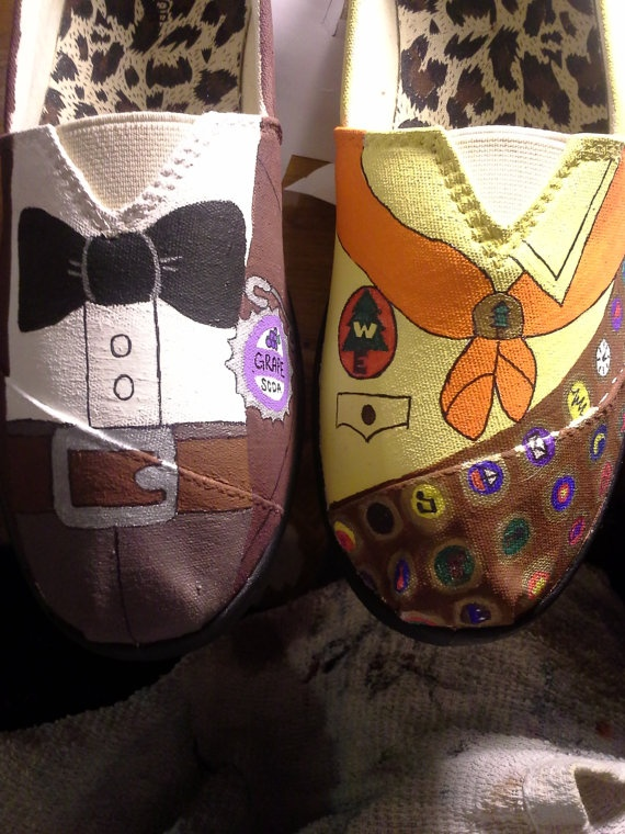 UP Shoes by ScootShoes on Etsy, $30.00   Honestly the cutest thing I've ever seen! I would LOVE to get a pair of Disney shoes! (: