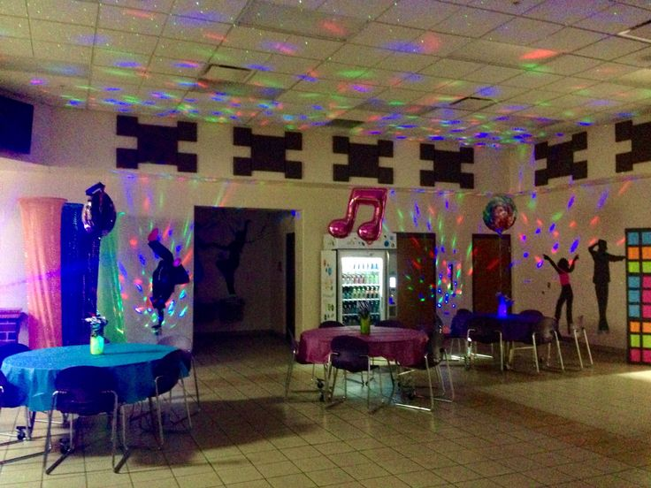 More of the Mylar balloons, dance lights, and our 80's dance.