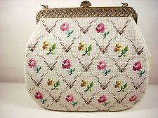 Vintage Needlepoint Purse Handbag Satchel Carpetbag Large Beige Floral Bag