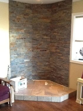 wood stove corner hearth - Google Search