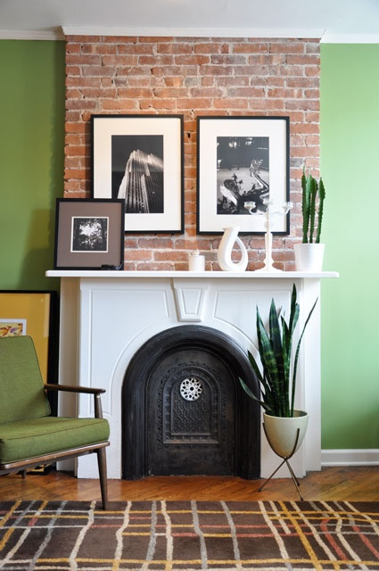 green wallsHouse Tours, Exposed Bricks, Living Rooms, House Design, Black And White, Green Wall, Cool Room, Painting Fireplaces, Bricks Fireplaces