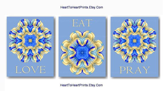 Kitchen Wall Decor Dining Room Wall Art Blue Beige Home Decor Aqua Blue Cream Flower Art Prints Floral Pictures Eat Pray Love Boho Set of 3