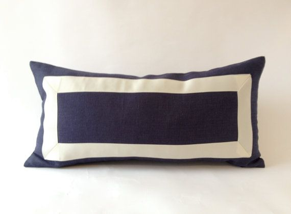 Decorative Lumbar Pillow Cover Navy BlueCotton Canvas