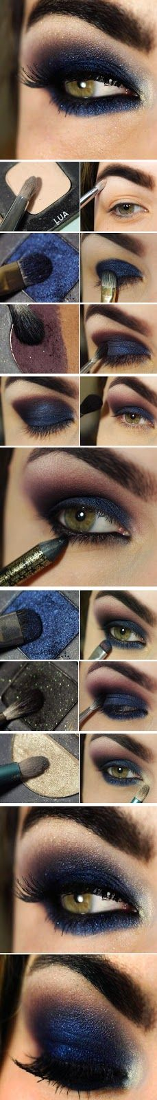 Get this beautiful sexy chic makeup idea starring navy blue! It's a perfect look even if you use cat eye glasses: http://www.smartbuyglasses.com/designer-eyeglasses/general/--Cat+Eye---------------------