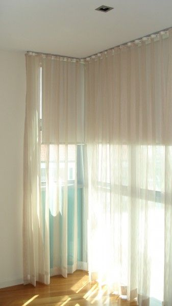 Roller blind with sheer curtains