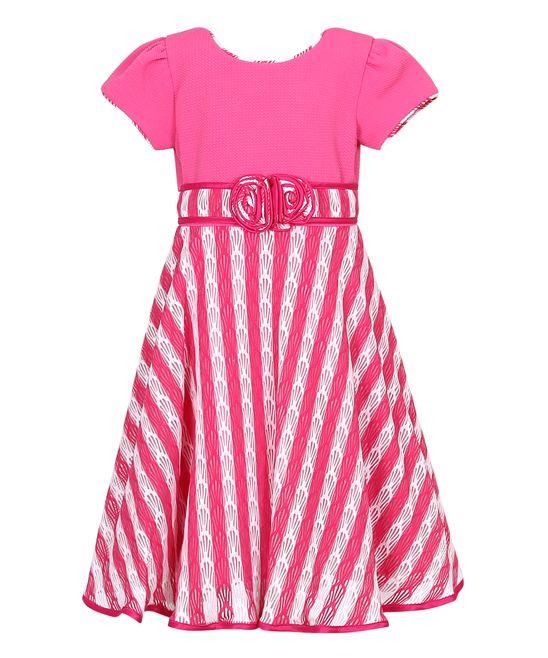 Fuchsia & White Stripe Party Dress - Toddler & Girls