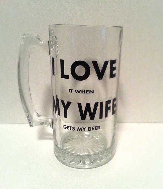 I Love My Wife 26.5oz Sports Beer Mug  by KimRamirezcreations, $12.00