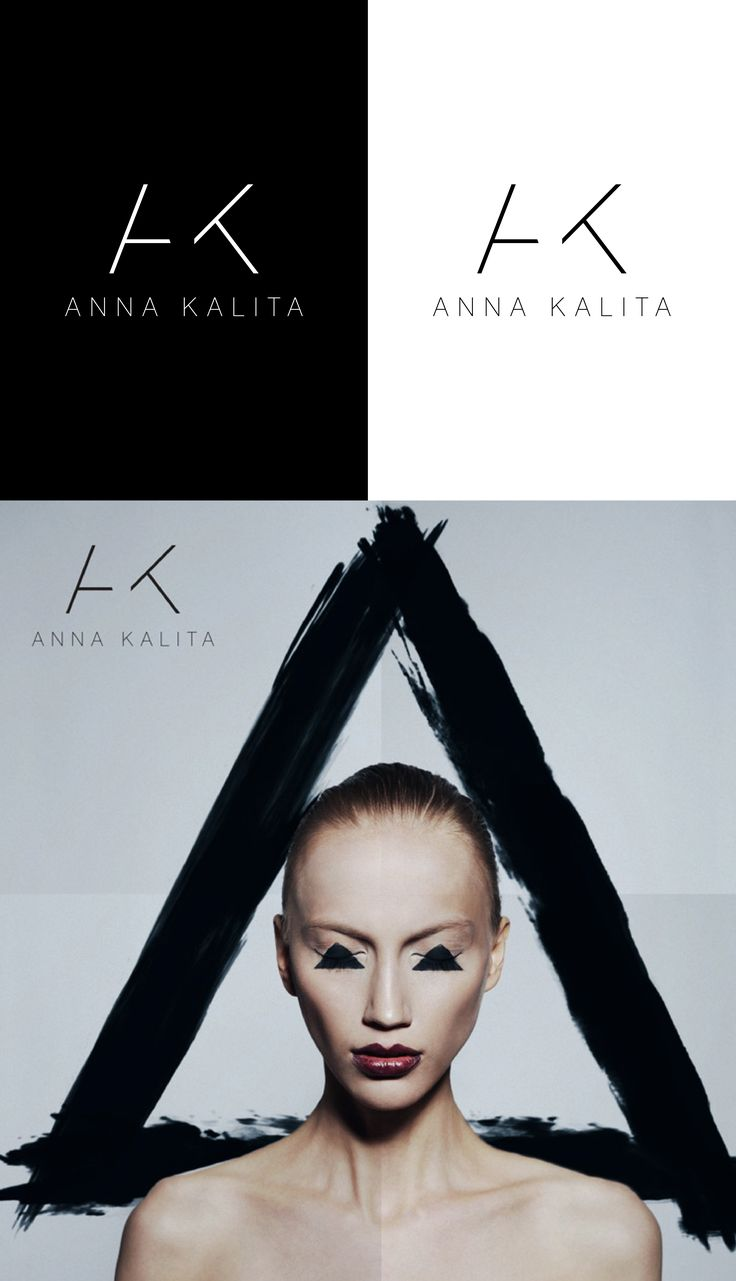 """Ultra- clean and minimal logo for a fashion activist and makeup artist. The mark is based on the cut-off letters """"A"""" and """"K"""". Designed by LET'S PANDA Vancouver."""