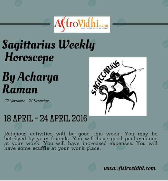 Check your Sagittarius Weekly Horoscope (18/04/2016-24/04/2016).Read your weekly horoscope online Hindi/English at AstroVidhi.com.