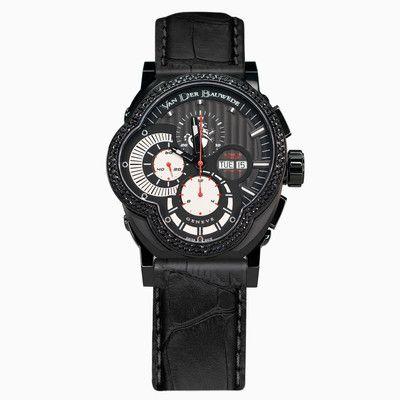Legend Rider 12845 luxury men's Swiss watch with black sapphires by Van der Bauwede - Monte Cristo
