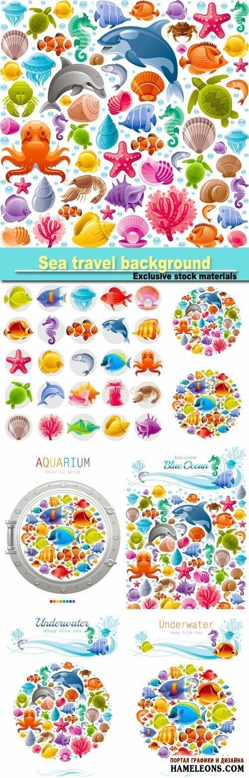 Яркие векторные фоны с рыбами, ракушками, морскими обитателями и растениями | Sea travel seamless background with underwater diving animals