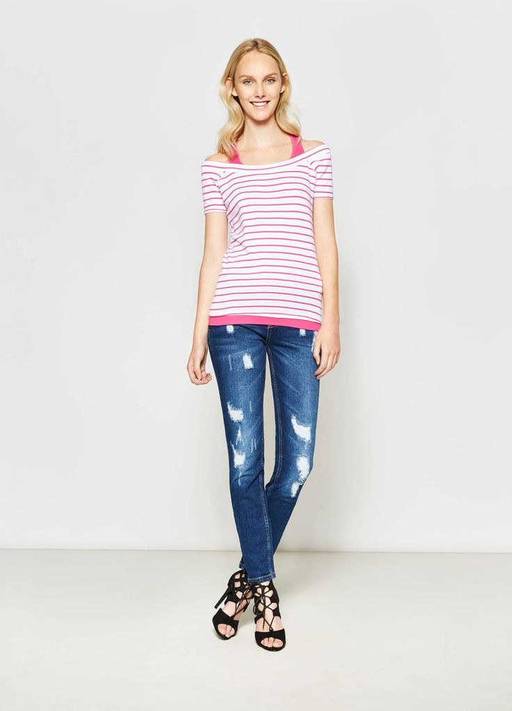 Buy online Striped T-shirt with faux layering on OVS. Find the best offers for the category undefined of the collection 2017.