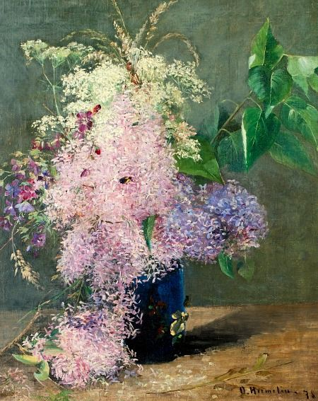 Olof Hermelin  Lilacs and Midsummer Flowers  1878   A traditional Finnish Midsummer festival (juhannus) spell: On the longest night of the year, you must gather seven different flowers from the fields in the light of the midnight sun.  When you go to bed you must place the flowers under your pillow and in a dream you will see your future husband/wife