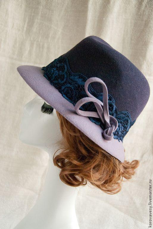 """Купить шляпа-федора """"Изабелла"""" - тёмно-фиолетовый, шляпа, женская шляпа, федора, шляпка из фетра"""